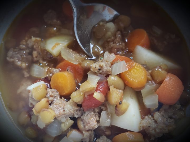 hearty and simple homemade sausage lentil soup